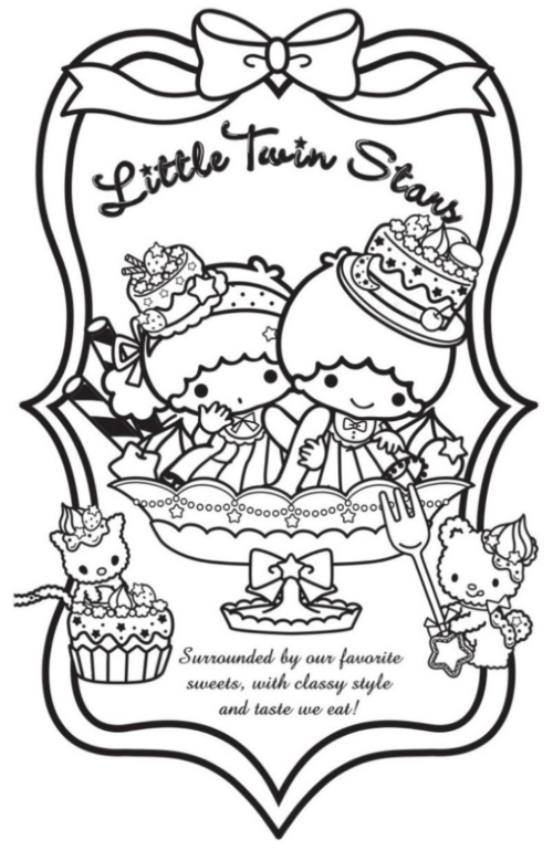 Sanrio stamp hello kitty stamps and friends stamp card for Little twin stars coloring pages